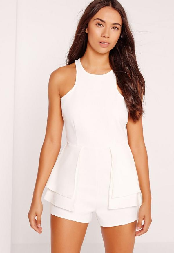 Racer Neck Peplum Playsuit White
