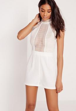 Lace Racer Neck Playsuit White