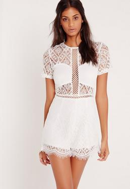 Lace Short Sleeve Playsuit White