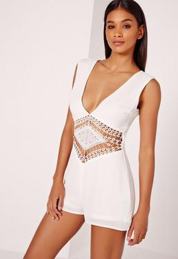 Chiffon Lace Trim Waist Detail Playsuit White