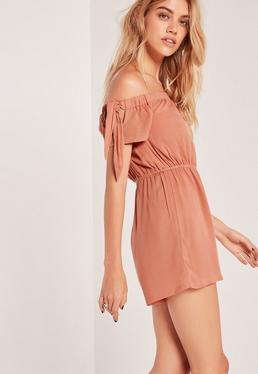 Cheesecloth Bardot Romper Nude