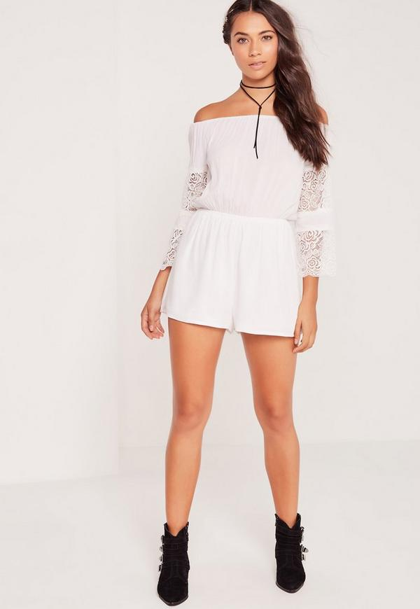 382f3d9d9eee Bardot Crepe   Lace Long Sleeve Playsuit White. Was  37.00. Now  18.00 (50%  off). Previous Next