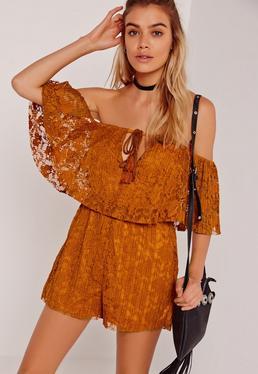 Lace Frill Bardot Playsuit Orange