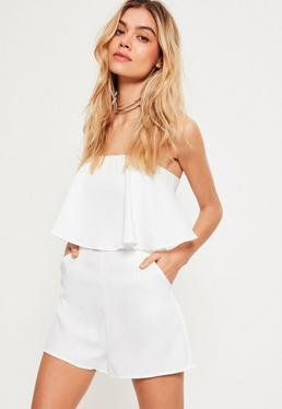 White Double Layer Bandeau Playsuit