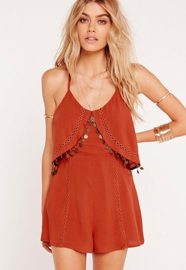 Crepe Coin Trim Detail Playsuit Rust