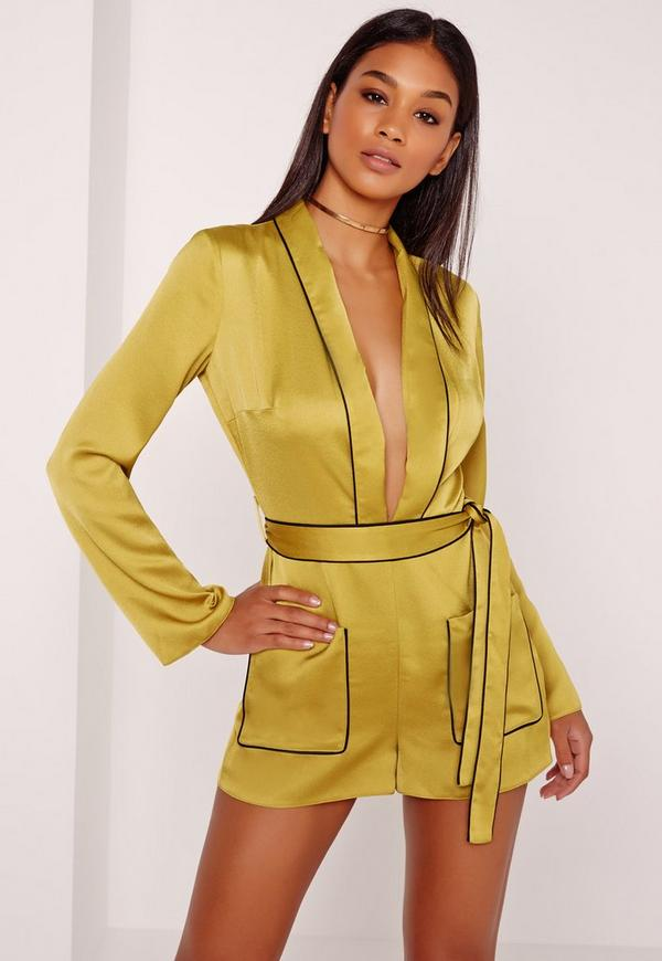 Silky Binded Plunge Playsuit Chartreuse Green