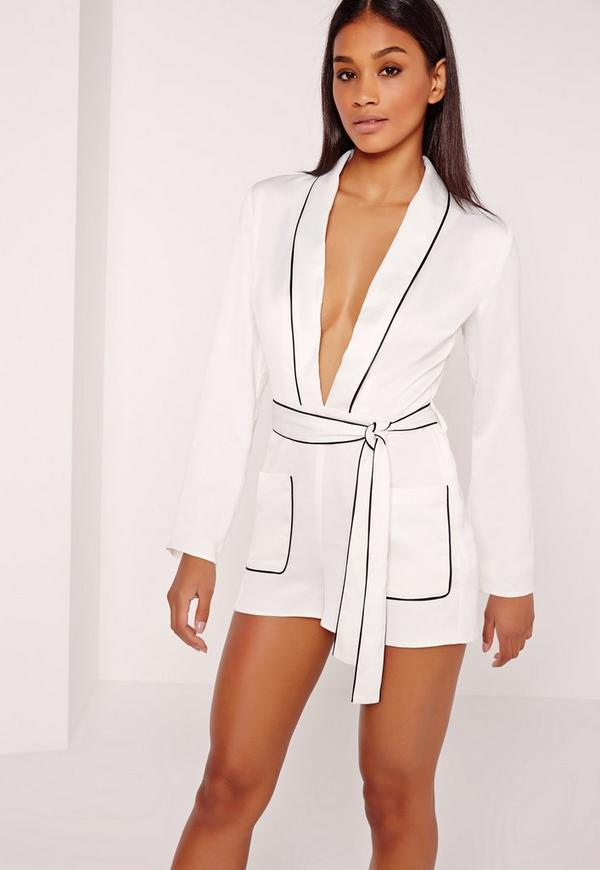 Silky Binded Plunge Playsuit White