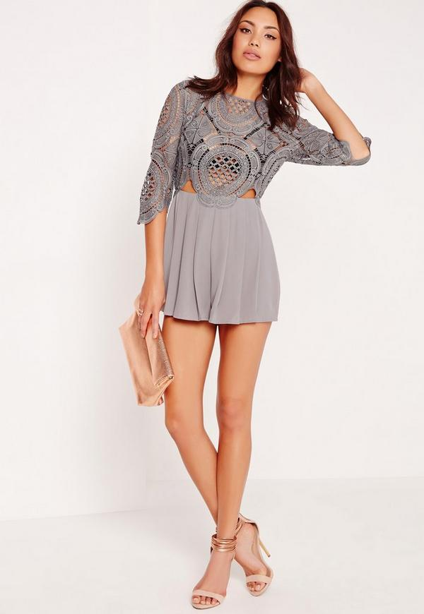 Crochet Lace Cut Out Playsuit Grey