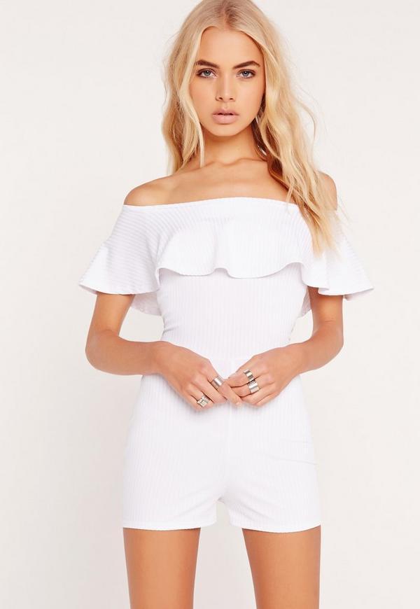 Ribbed Frill Bardot Playsuit White