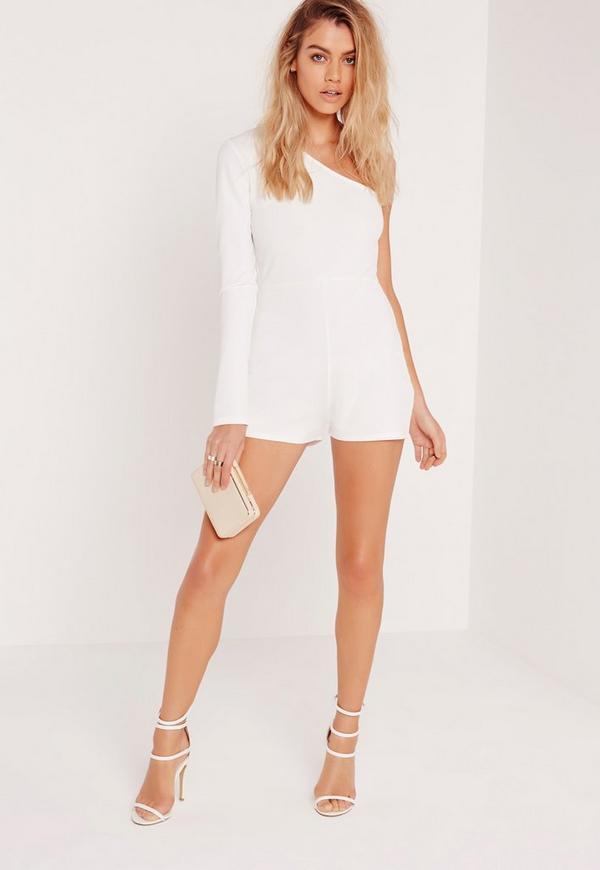 Crepe One Shoulder Playsuit White