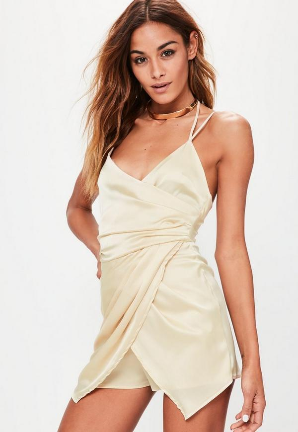 Silky Ruched Asymmetric Playsuit Nude