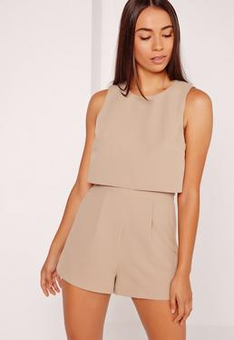 Crepe Sleeveless Double Layer Playsuit Camel