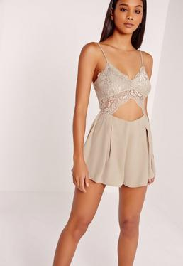 Lace Cut Out Romper Grey