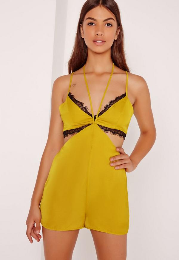 Silky Harness Detail Black Trim Playsuit Chartreuse Green
