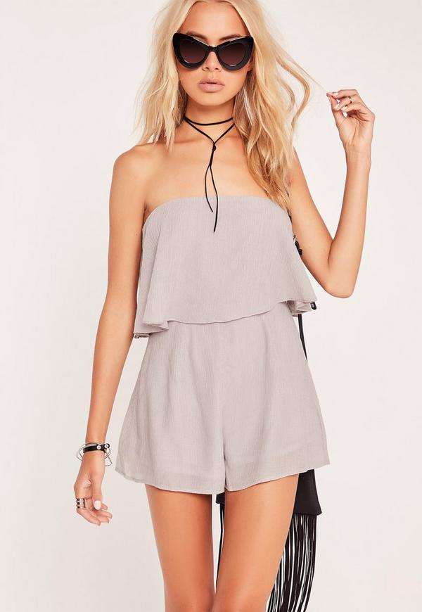 Cheesecloth Double Layer Playsuit Grey