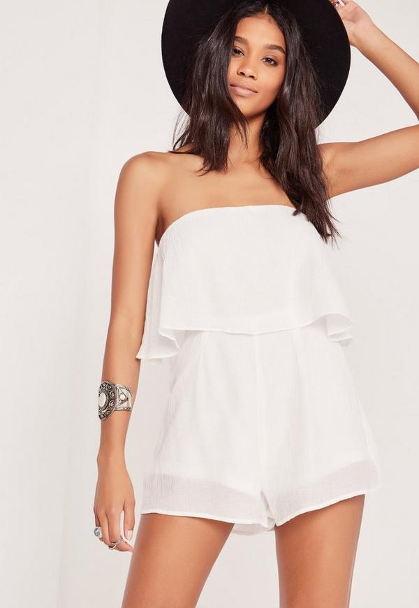 Cheesecloth Double Layer Playsuit White