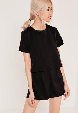 Crepe Short Sleeve Double Layer Romper Black