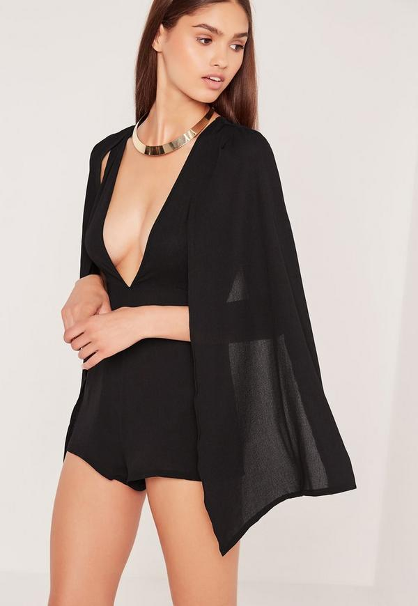Cape Plunge Playsuit Black