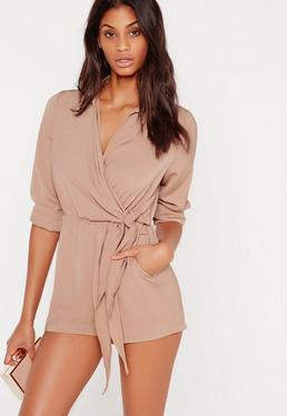 Wrap Front Shirt Romper Taupe