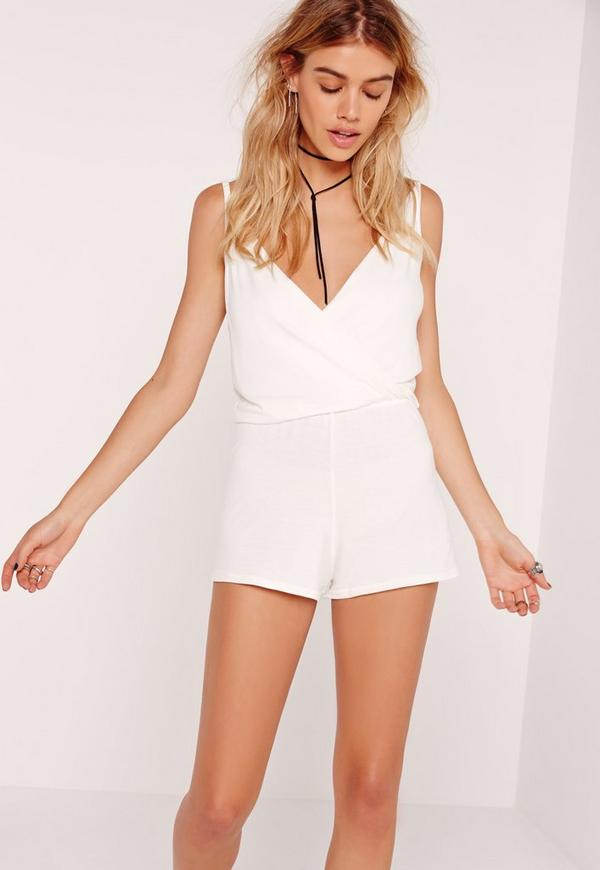 Jersey Wrap Playsuit White