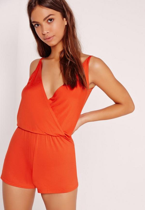 Jersey Wrap Playsuit Orange