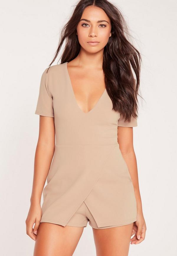 Crepe Plunge Origami Playsuit Nude