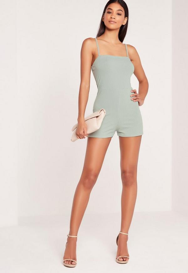 Ribbed 90's Neck Playsuit Duck Egg Blue