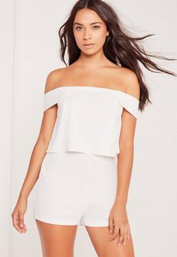 Crepe Bardot Double Layer Playsuit White