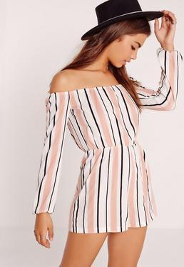 Stripe Bardot Playsuit Pink