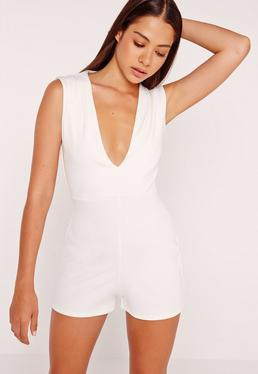 Ribbed Plunge Playsuit White