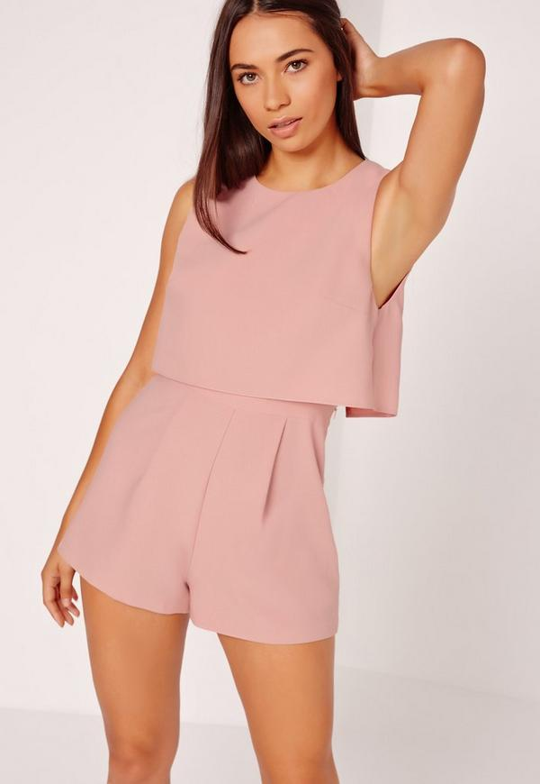 b23805e3be7d Crepe sleeveless double layer playsuit Blush