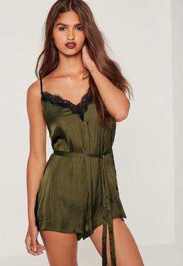 Silky Eyelash Lace Playsuit Green