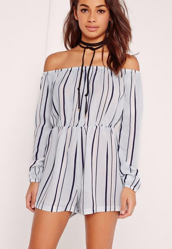 Striped Bardot Playsuit Powder Blue