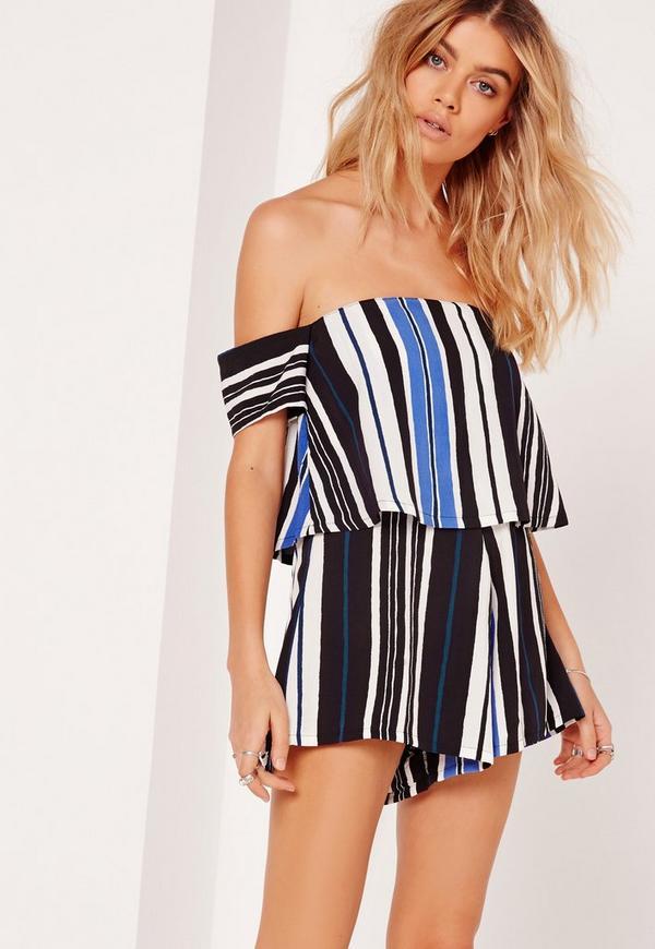 Striped Bardot Playsuit Cobalt Blue