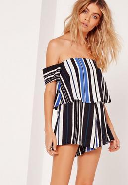 Striped Bardot Romper Cobalt Blue