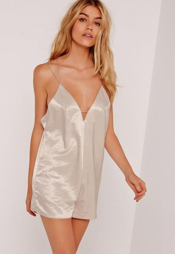Silky Strappy Plunge Playsuit Nude