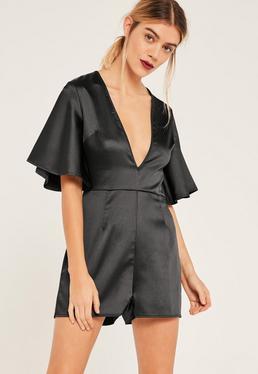 Black Wide Sleeve Plunge Satin Playsuit