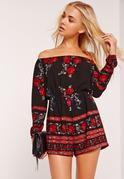 Long Sleeve Bardot Romper Red