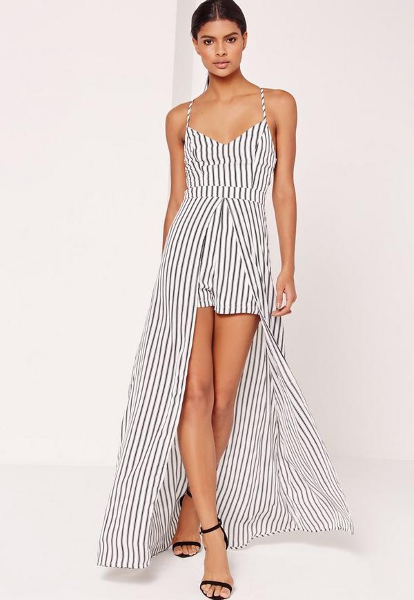 Striped Skirt Overlay Playsuit White