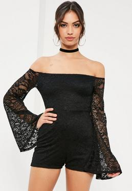Black Long Sleeve Lace Bardot Romper
