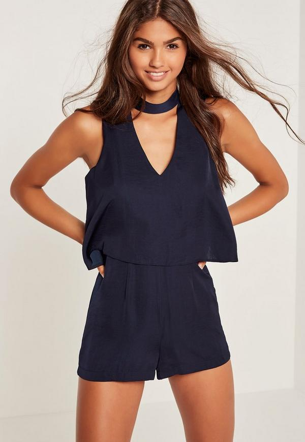 Silky Double Layer Choker Playsuit Navy
