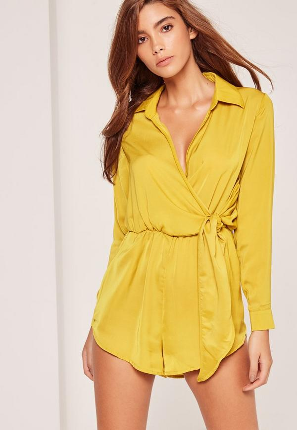 Silky Wrap Front Playsuit Yellow