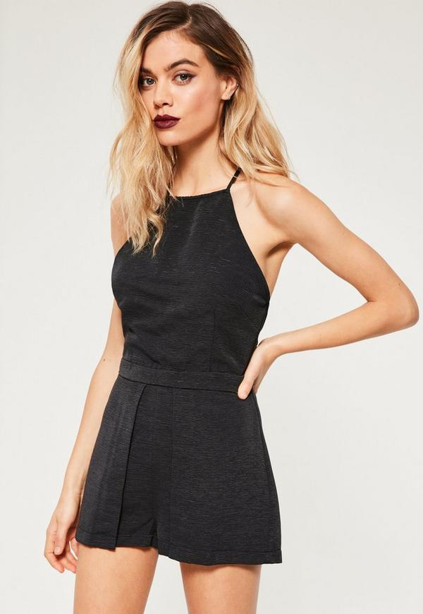 Black Pleated Skort Playsuit