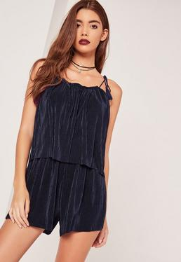 Pleated Double Layer Tassel Playsuit Navy