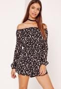 Floral Bardot Playsuit Black
