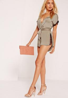 Eyelash Lace Trim Silky Wrap Playsuit Nude
