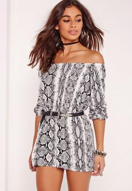 Snake Print Bardot Playsuit Grey