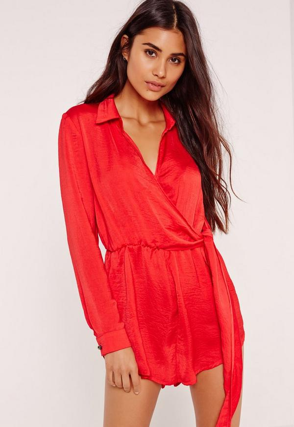 Silky Wrap Front Playsuit Red