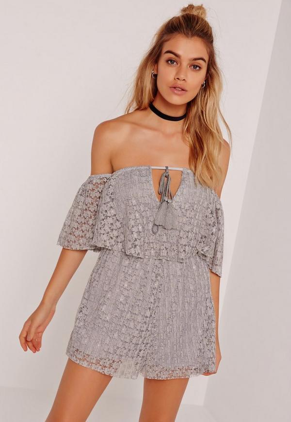 Lace Frill Bardot Playsuit Grey