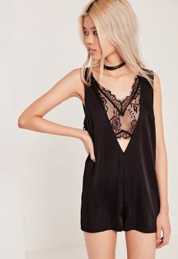Silky Lace Insert Playsuit Black